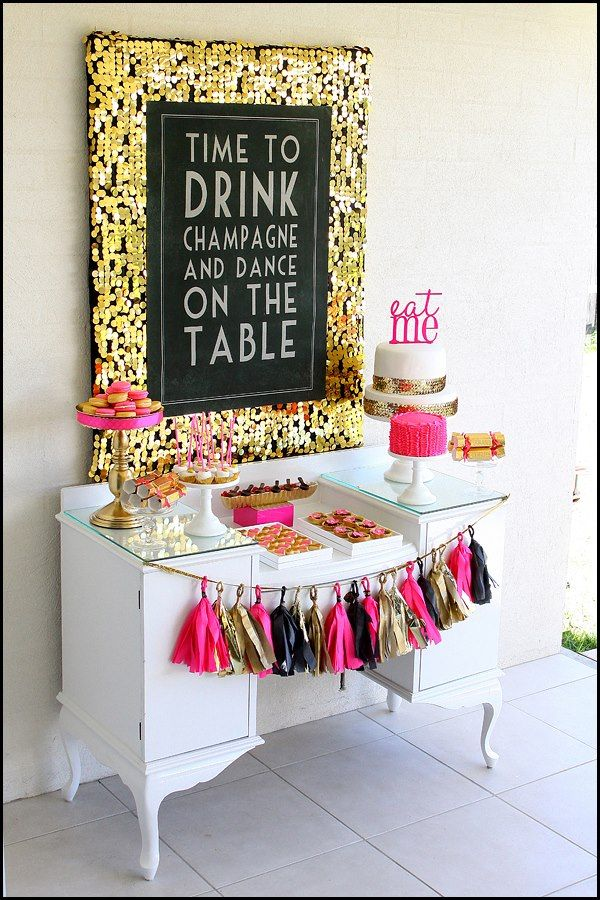 Modern Mindy Pink Black And Gold 40th Birthday Bash By