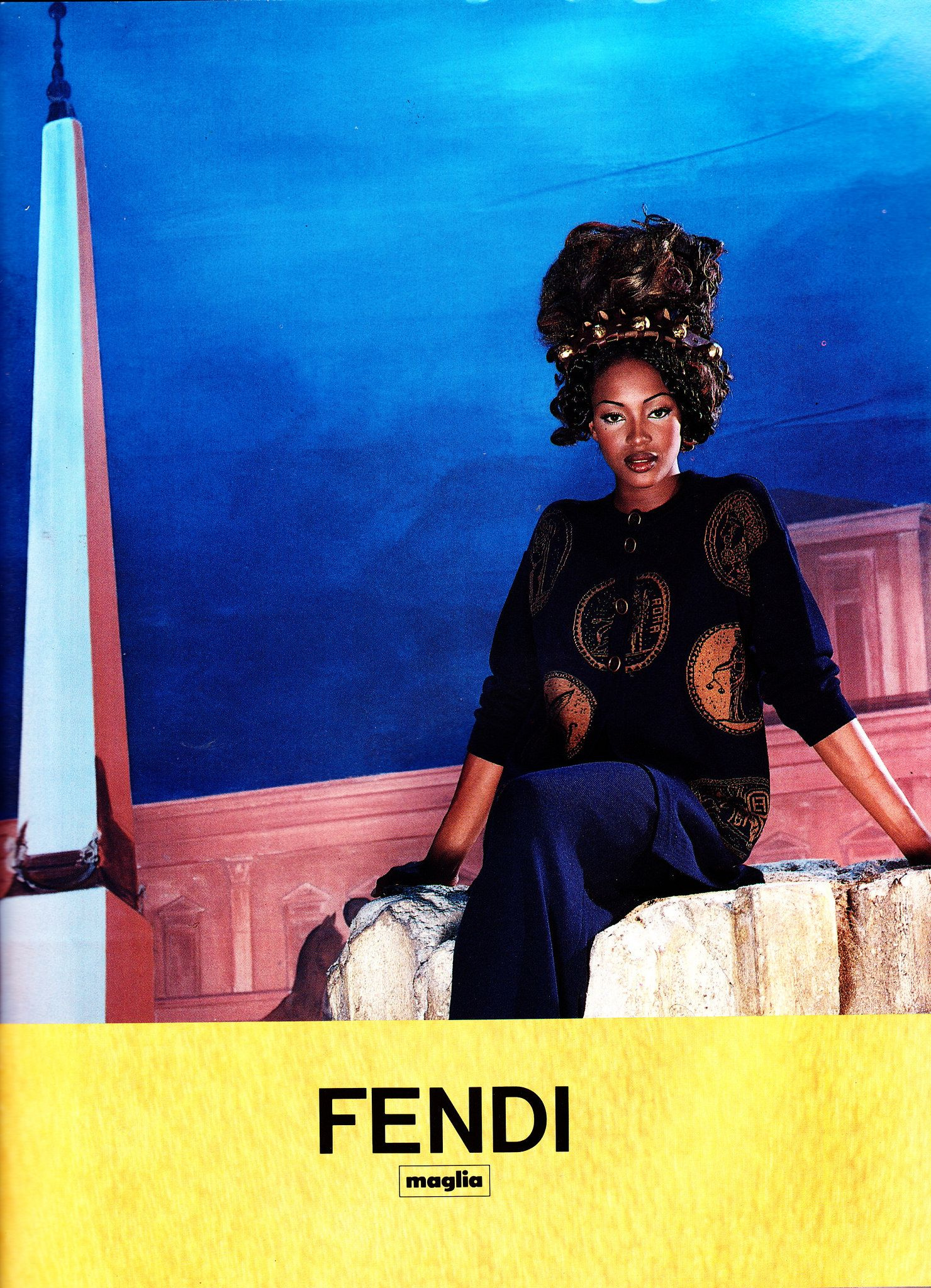 1996 Fendi Furs Fashion Magazine Print Ad: Sendommager Naomi Campbell At Versace Springsummer 1996