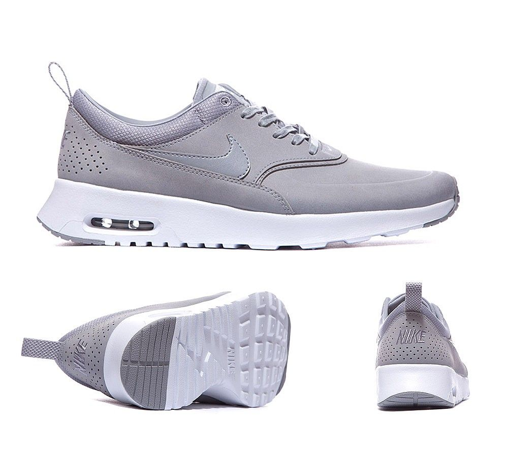 40847a55214 Nike Womens Air Max Thea Premium Trainers Stealth Grey White S92402 ...