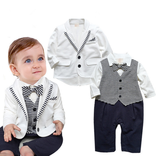 aff10cbb59215 Gentleman baby boy clothes white coat+ striped rompers clothing set ...