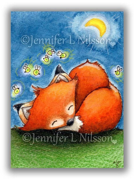 ACEO Print Sweet Dreams Little Fox whimsical night by JLNilsson