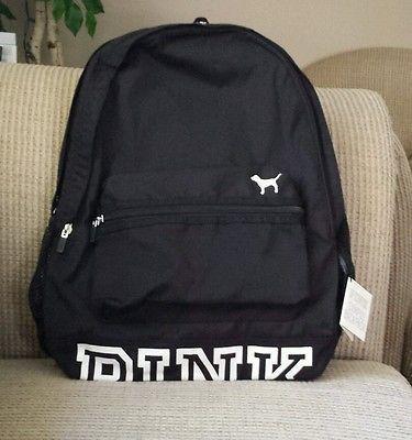 48ea41a42ab4 Victorias Secret PINK Backpack Campus Bookbag Black Logo Bottom Victoria s  NEW