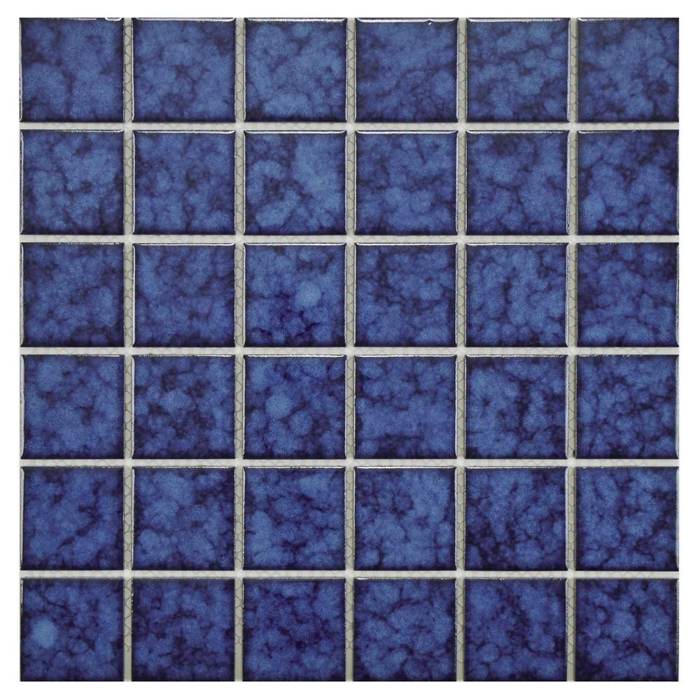 Merola Tile Lagoon Quad Atlantic 11 7 8 In X 11 7 8 In X 6 Mm Porcelain Mosaic Tile Atlantic Blue Hig Porcelain Mosaic Tile Porcelain Mosaic Mosaic Flooring