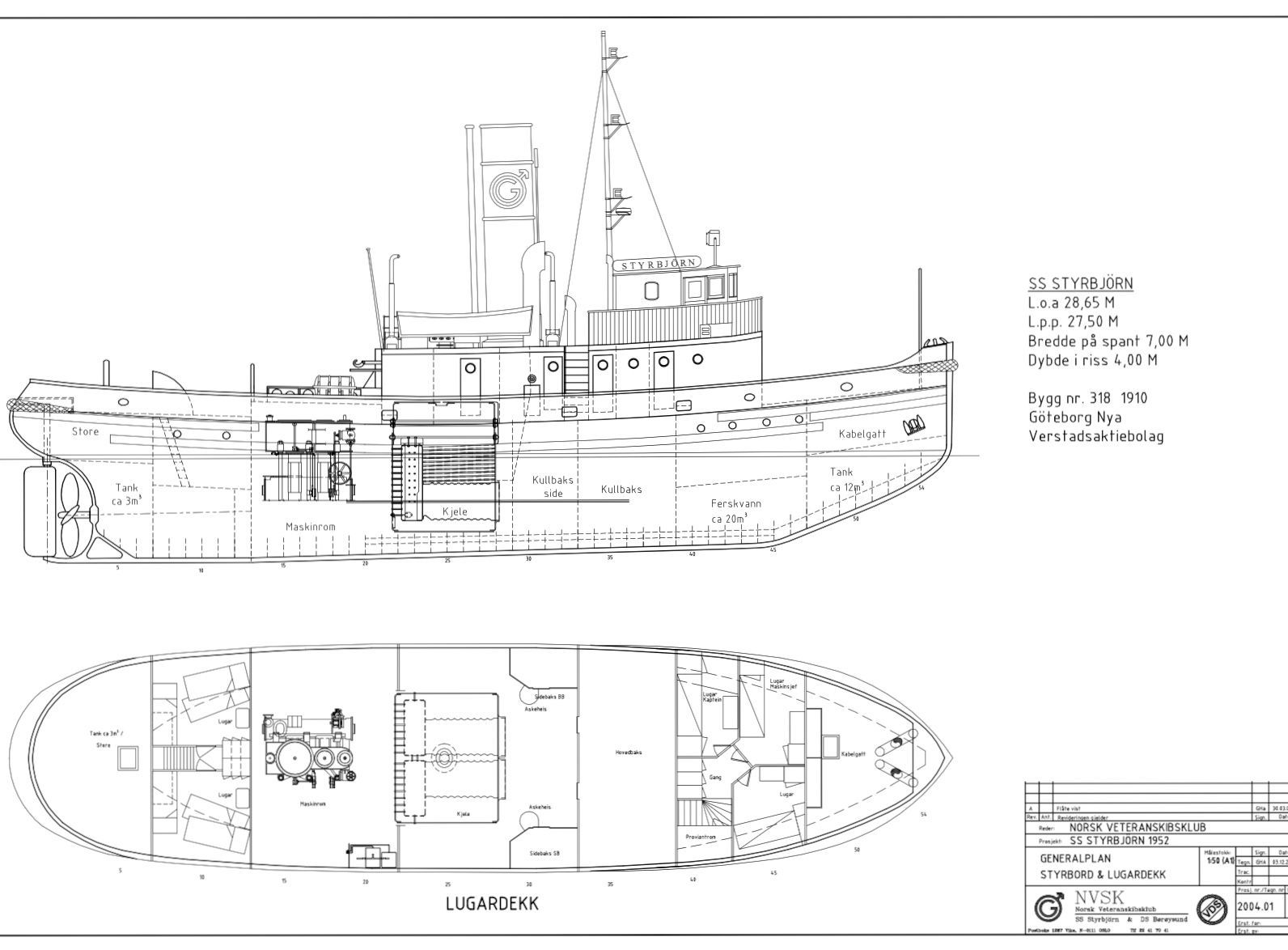 Styrbjørn GA yachtdrawing Boat plans, Yacht, Model ships