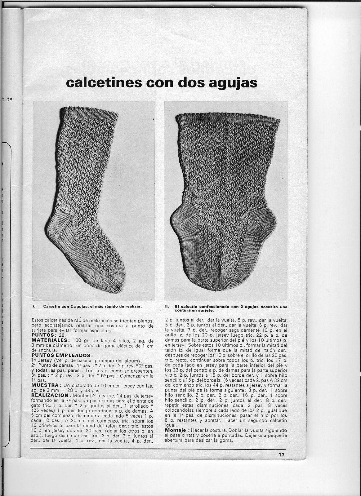 patrón calcetines | Punto a dos agujas | Pinterest