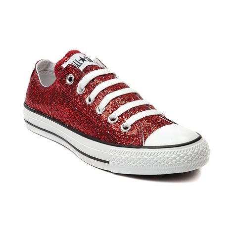 Shop for Converse All Star Lo Glitter Sneaker in Red at ...