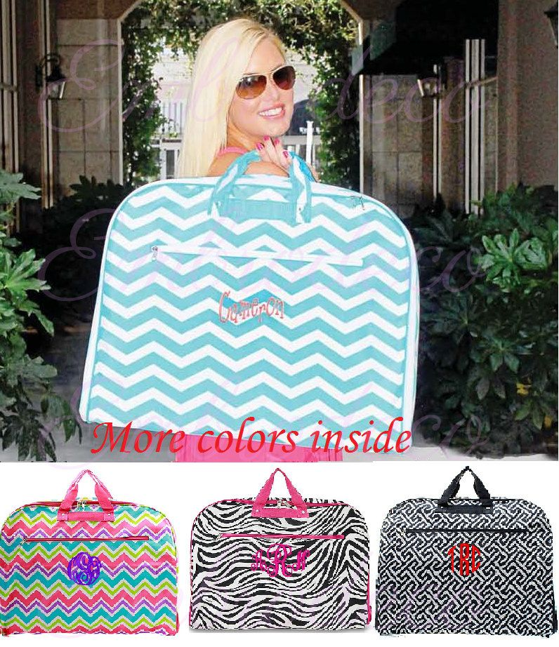 Beautiful Personalized Garment Bag.- Aqua Chevron Back in stock! (32.95 USD) by Embrodeco