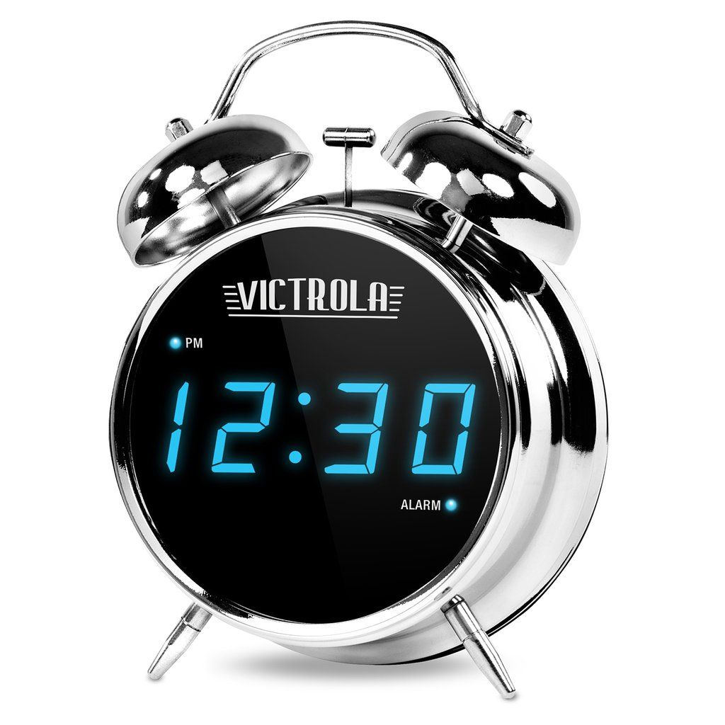 Classic Chrome Twin Bell Alarm Clock with Digital Display
