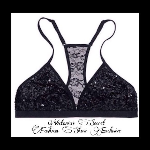 6c88593d3f New Victoria s Secret Pink Black Sequin Bralette L Brand new Victoria s  Secret Pink black sequin triangle racerback bralette. Fashion show  exclusive.