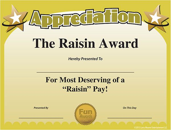 printable Funny work awards Certificate of Appreciation Random - employee award certificate templates free