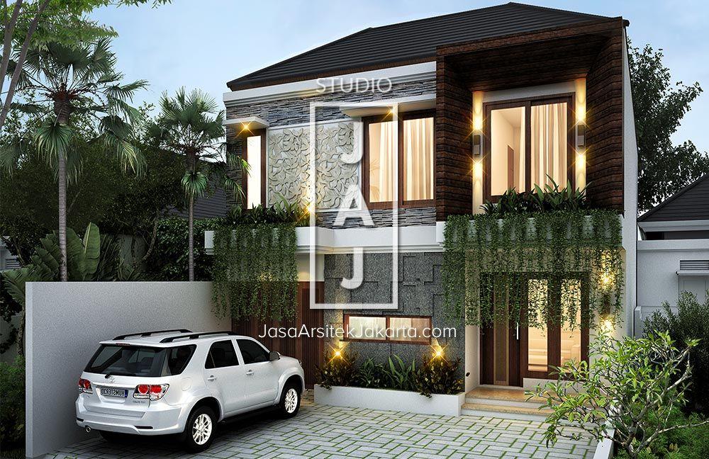Desain Rumah 2 Lantai Dengan Luas Bangunan 180m2 Yang Menggunakan Style Bali Modern Berlokasi Di Jati Desain Rumah 2 Lantai Desain Rumah Desain Rumah Minimalis