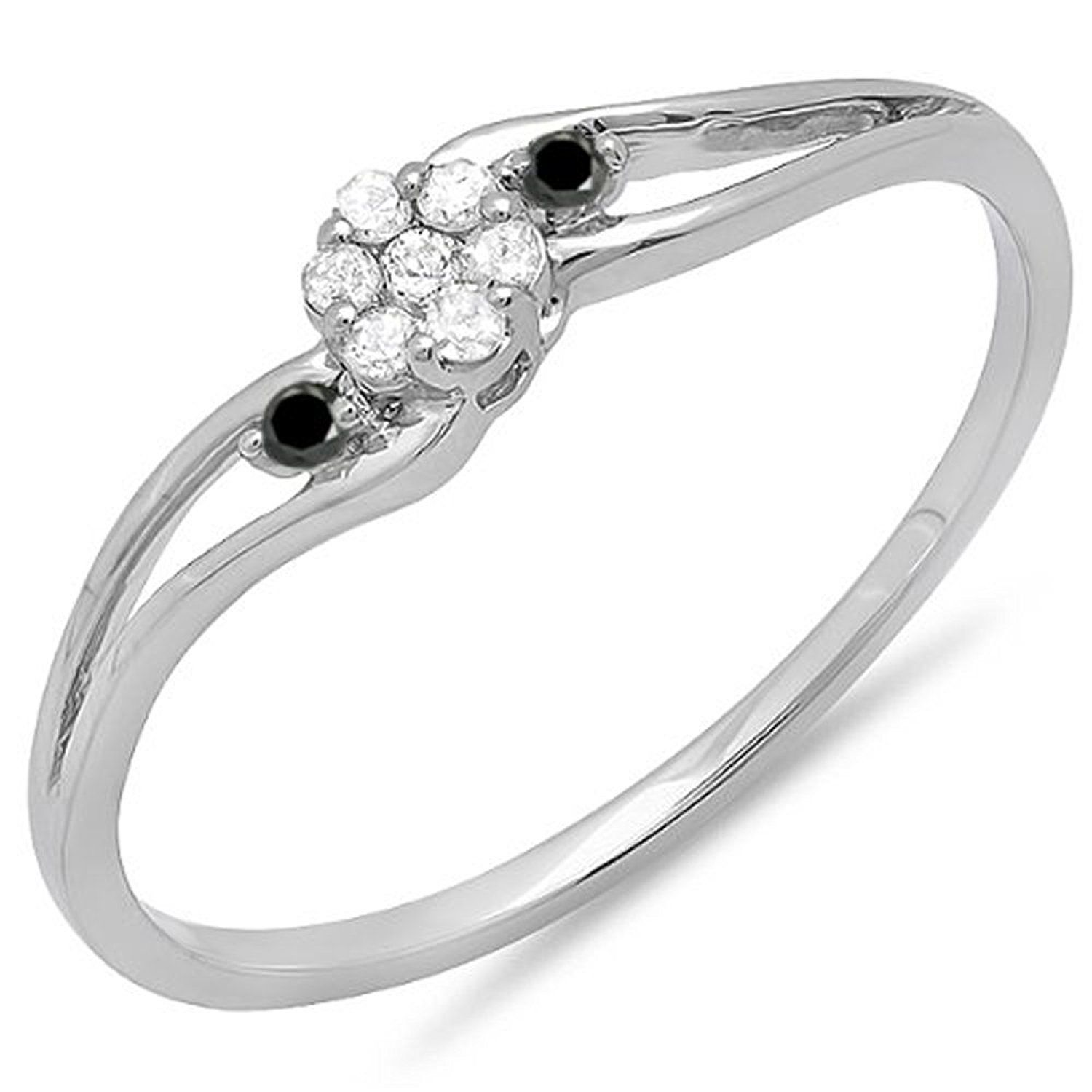0.10 Carat (ctw) 18k White Gold White And Black Diamond Swirl Split Shank Cluster Promise Ring 1/10 CT *** Insider's special review you can't miss. Read more  : Promise Rings