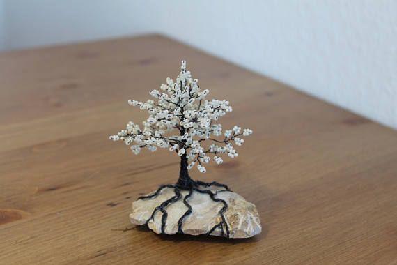 Kleiner zarter Perlenbaum in Weiß Baum aus Perlen Geschenk   Meine ...