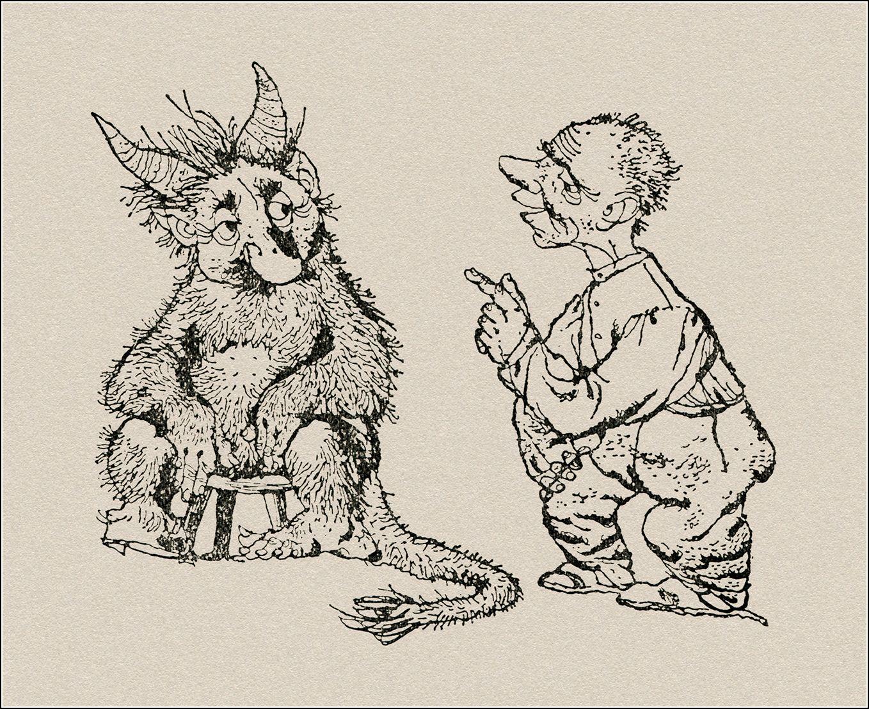 Čarodějná mošna: České pohádky. Vypravuje Jiří Horák. Praha: Statni nakladatelstvi detske knihy, 1958. Ilustroval  Jiří Trnka.