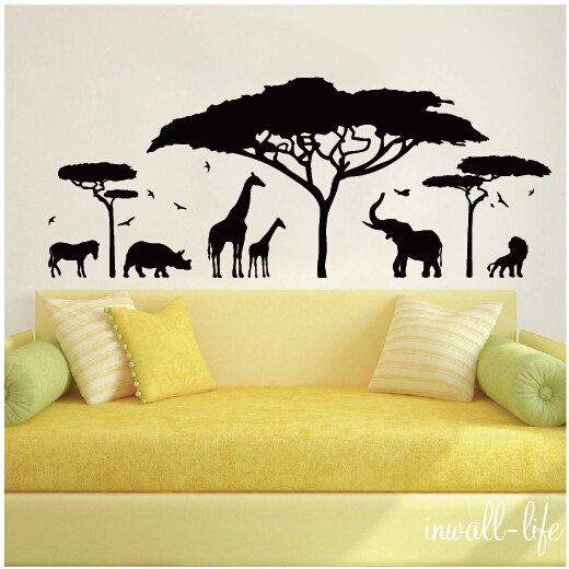 African Safari Wall Decal-a lion, elephant, zebra, rhino, giraffes ...