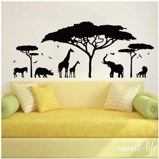 African Safari Wall Decal A Lion, Elephant, Zebra, Rhino, Giraffes,