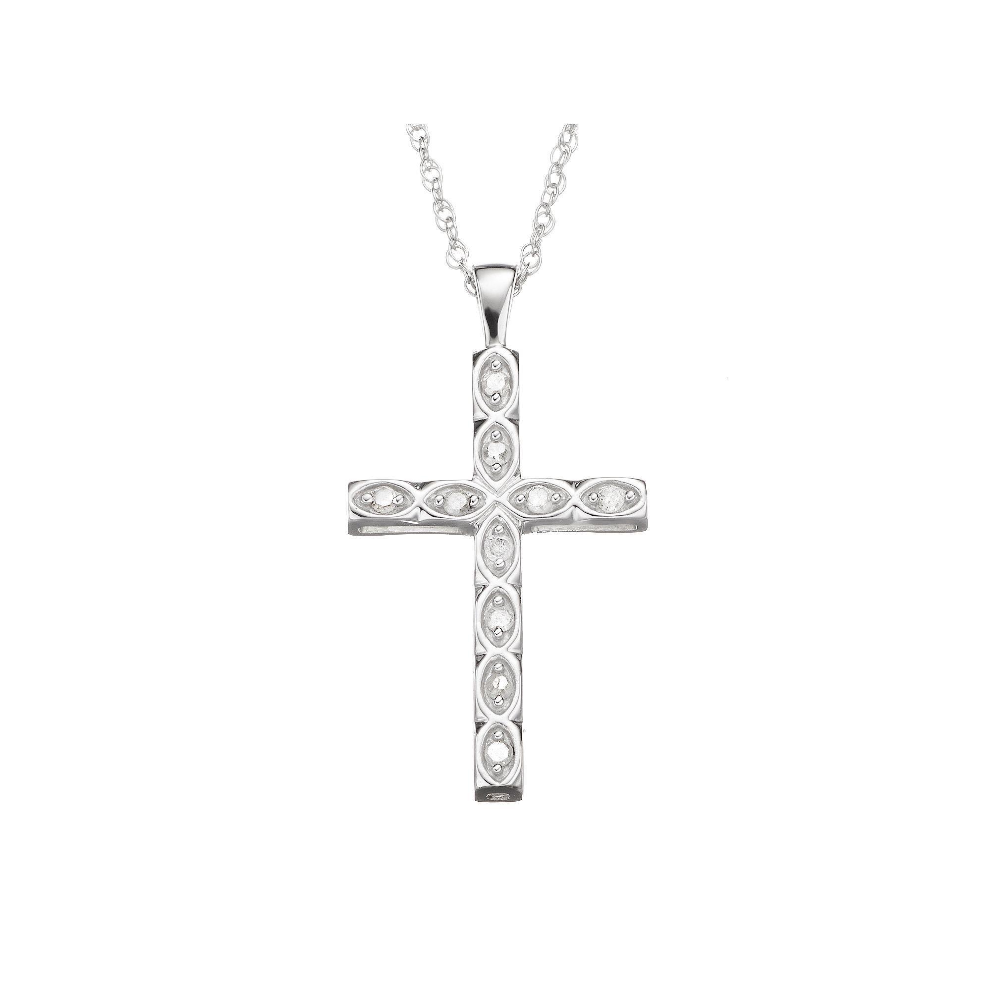 1e7cdc57e 1/10 Carat T.W. Diamond Sterling Silver Cross Pendant Necklace, Women's,  White