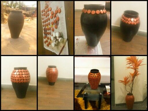 A flower vase made up from total best out of waste for Best out of waste products