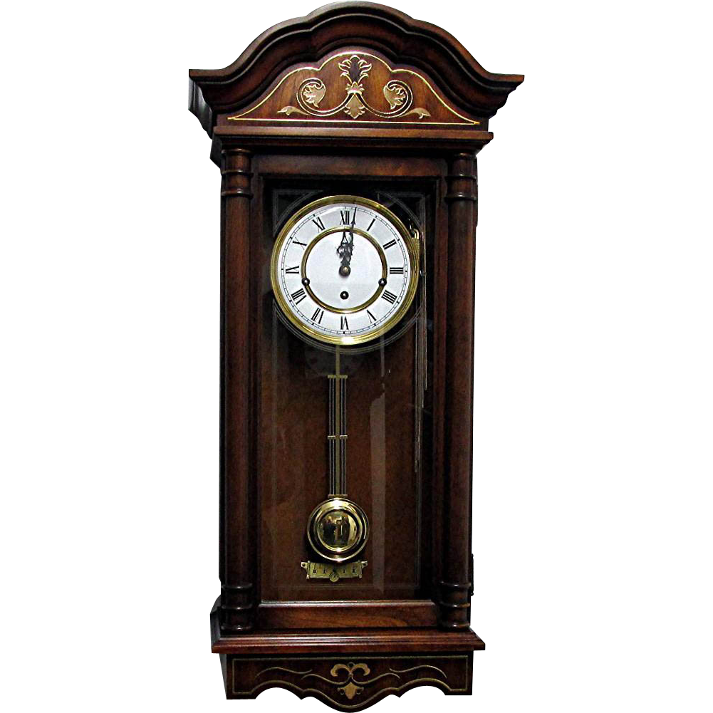 Triple Chime Wall Clock By Trend Sligh Solid Cherry Case Like New Condition Www Rubylane Com Vintagebeginshere Wall Clock Clock Antique Wall Clock