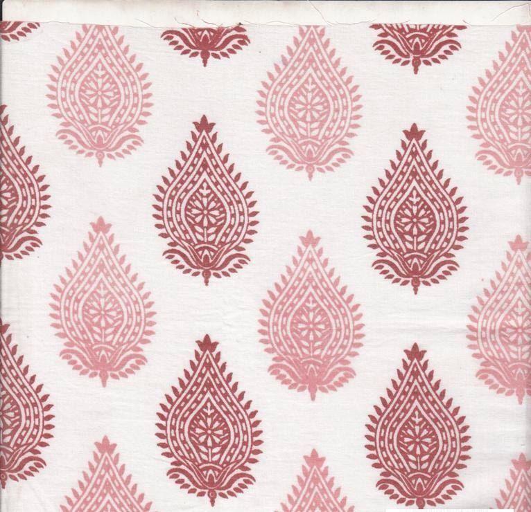 Organic Cotton, Pink Block Print, Herbal Dyed, Paisley Design ... : organic cotton quilt fabric - Adamdwight.com