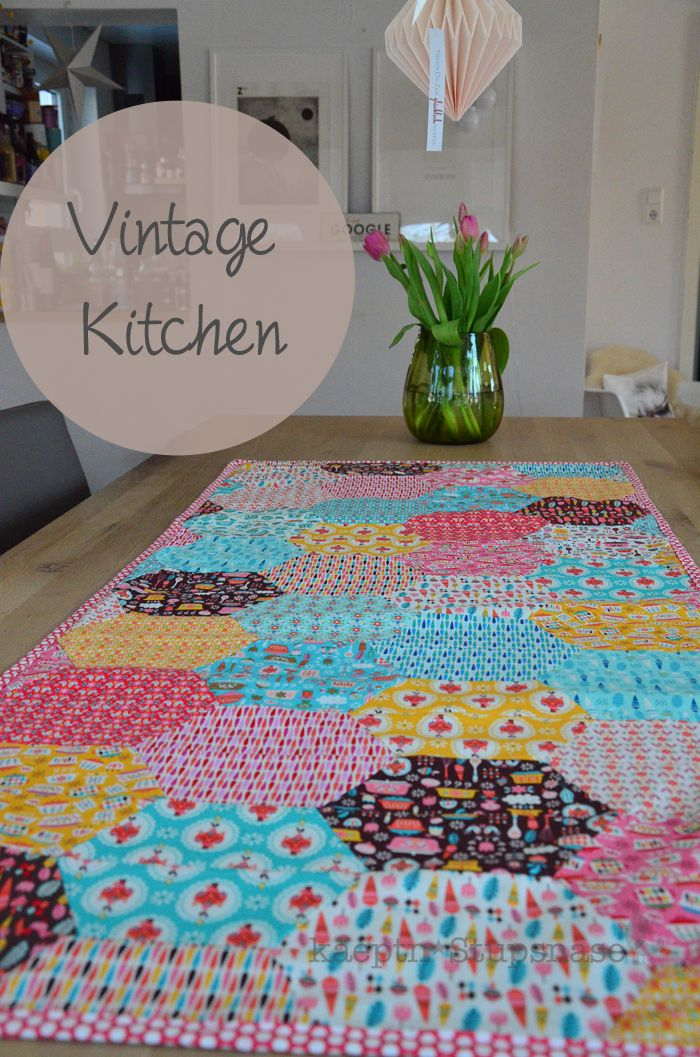 Love this Hexi Table Runner made with Andrea Muller\'s Vintage ...