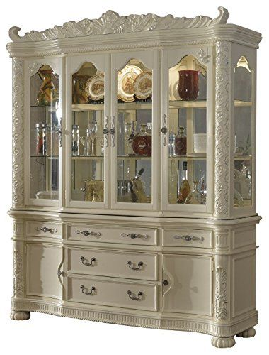 Meridian Furniture 702 HB Barcelona Solid Wood Dining Room Hutch And Buffet China Cabinet