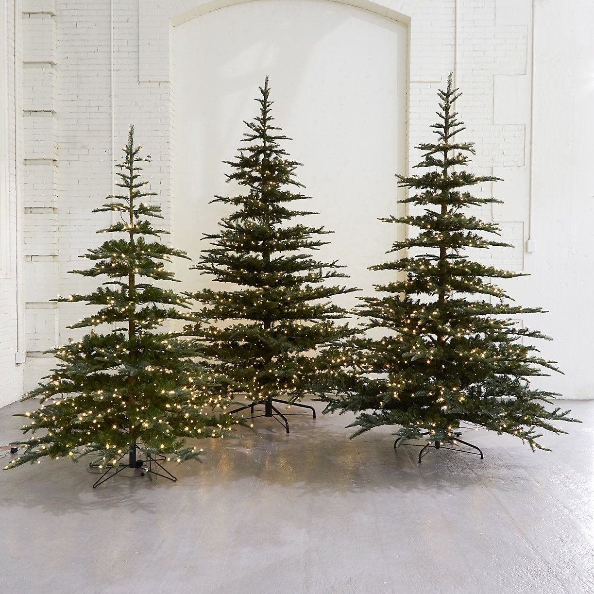 Pre Dressed Christmas Trees: Pre-Lit LED Faux Noble Fir