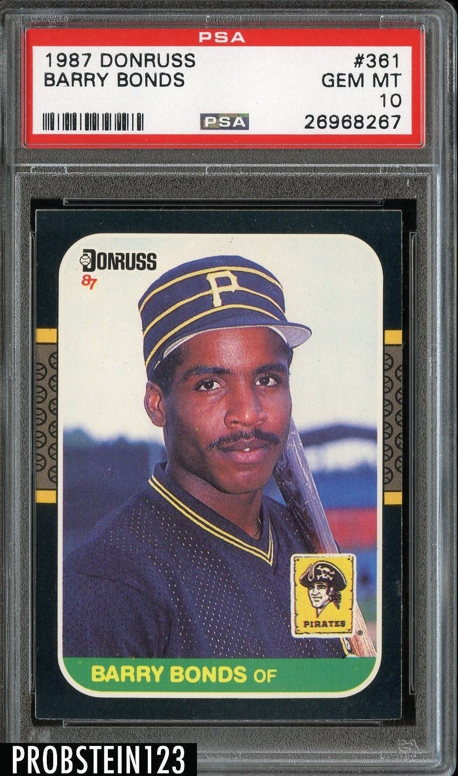 1987 donruss 361 barry bonds pirates rc rookie psa 10 gem