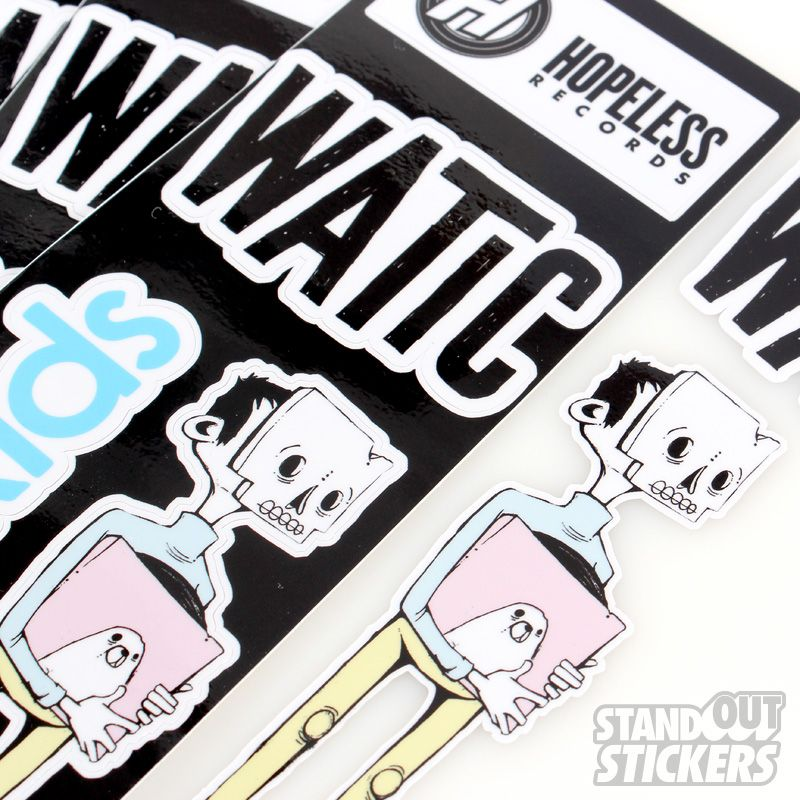 Custom rectangle vinyl stickers for hopeless records we are the in crowd weird kids