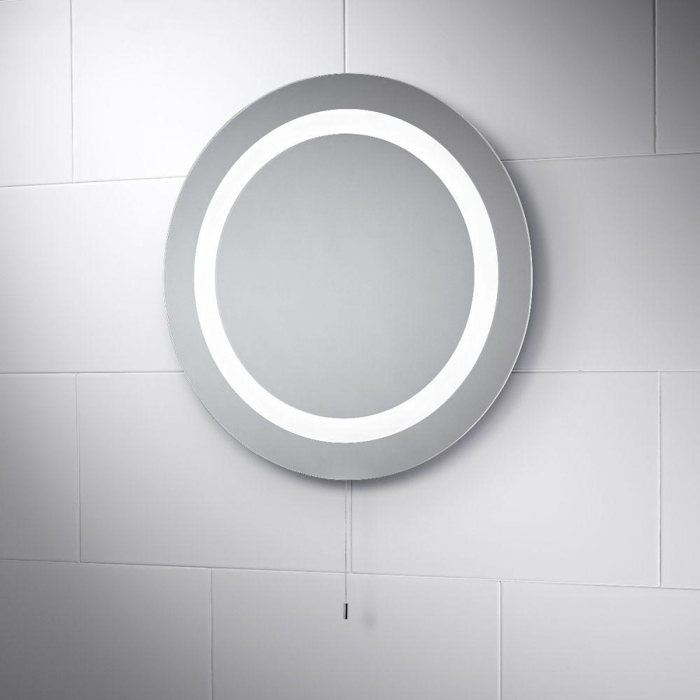 Azure LED Illuminated Battery Bathroom Mirror | Pebble Grey Bathroom ...
