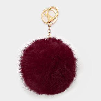 051b23f4d5aa Pom Pom Key Chain Bag Charm Fur Ball Keychain MAROON GOLD