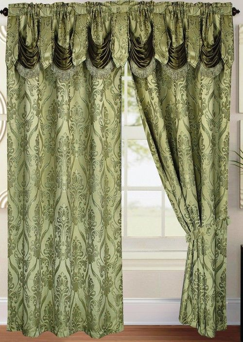 Penelope Curtain With Attached Valance Sage Green Curtains