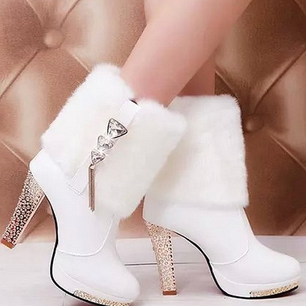 Ladies Gorgeous Thick Heel Leather Faux