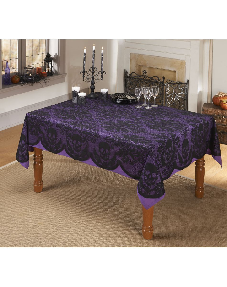 Skulls Lace Tablecloth At Spirit Halloween   Spook Up Your Room With The  Skulls Lace Tablecloth. Halloween Isnu0027t The Time For Any Old Plain  Tablecloth, ...
