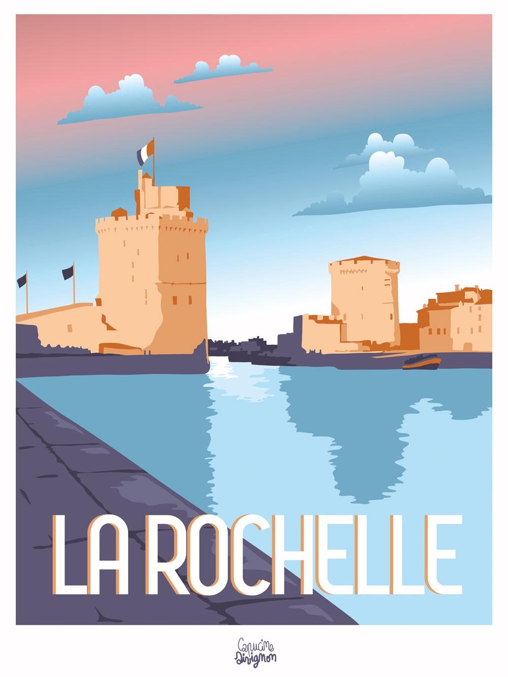 Affiche Capucine Sivignon La Rochelle 30x40cm Affiches De Voyage Retro Affiches De Voyage Illustration De Voyage