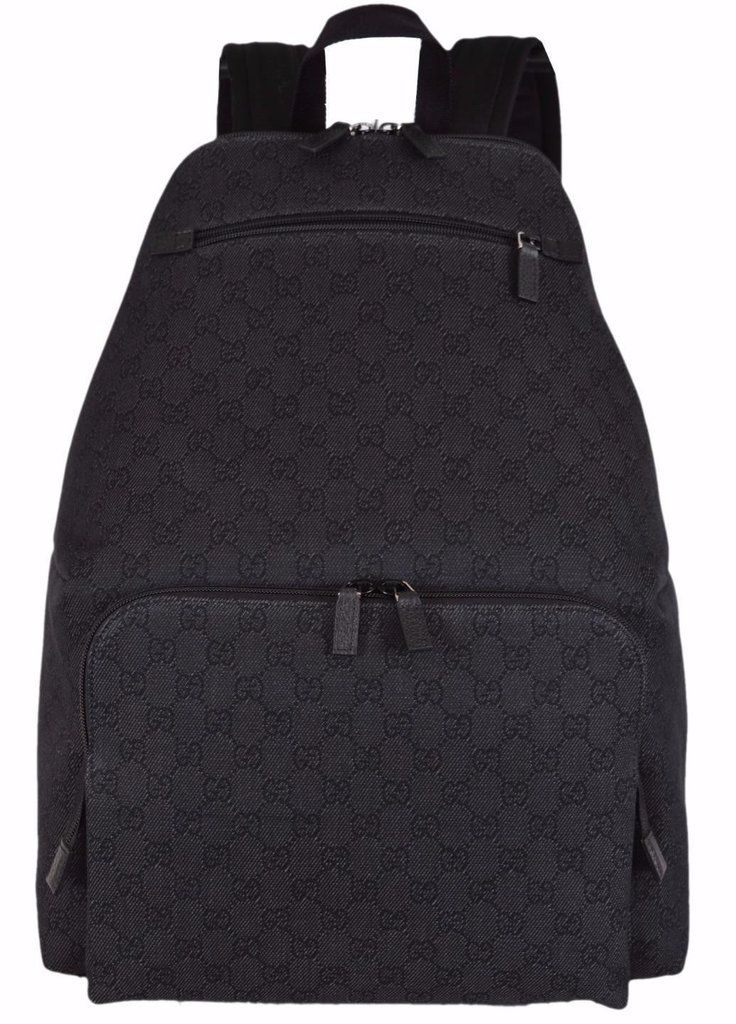07628608d2f New Gucci 179606 Black DENIM Unisex GG Guccissima Travel Backpack Rucksack  Bag