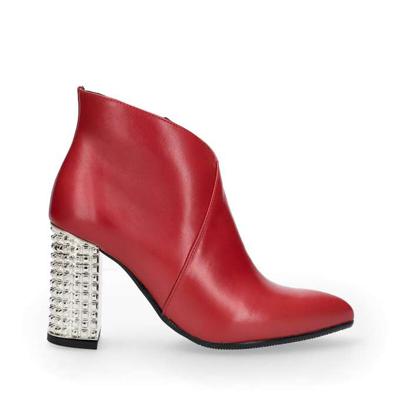 Botki Czerwone Obuwie Damskie Slupek Zloty Obcas Zamek Zasuwak Skorzane Skora Naturalna Skorzana Wkladka Arturovicci Shoes Ankle Boot Boots