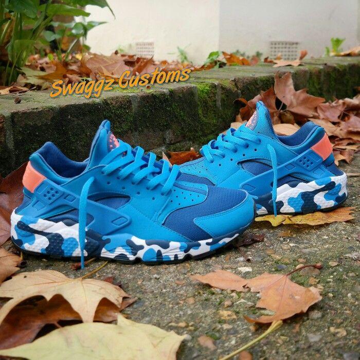 sports shoes c1586 f11db Blue blue camo midsole custom huaraches