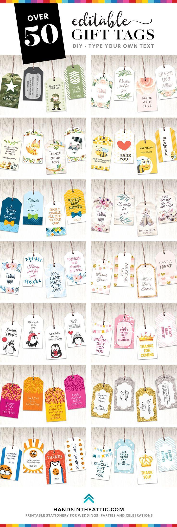 Etiketten für bedruckbare Geschenke | Baby Geschenk | Pinterest ...