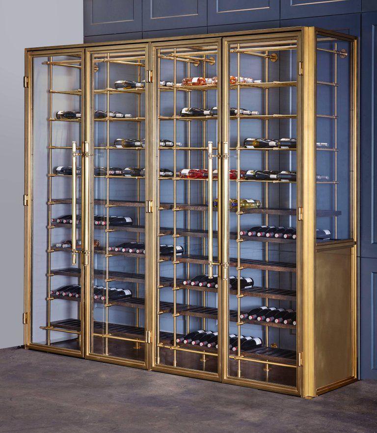 Amuneal S Brass Wine Room Wine Room Glass Shelves Wine Display