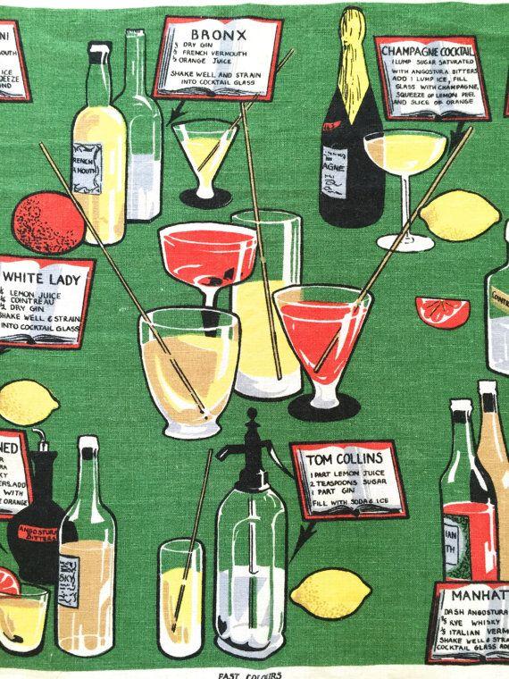 Vintage BAR Towel Cocktail Recipes Seltzer Bottle Glasses