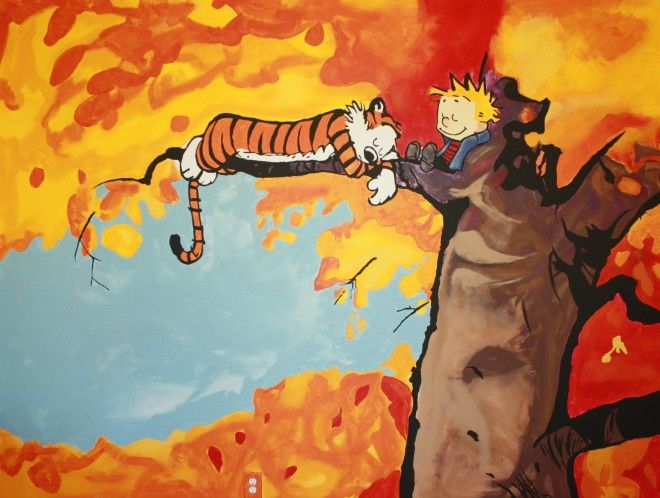 amazing calvin and hobbes mural time lapse calvin on watchman on the wall calvin id=52260