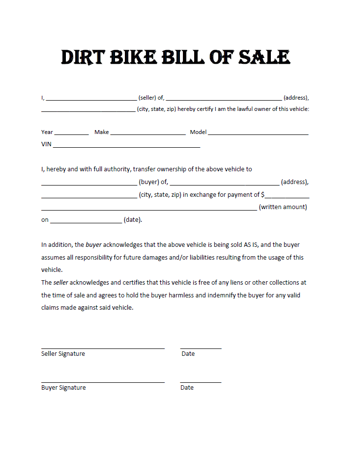 Bill Of Sale For Dirt Bike Yahoo Image Search Results Bill Of Sale Template Atv Bills