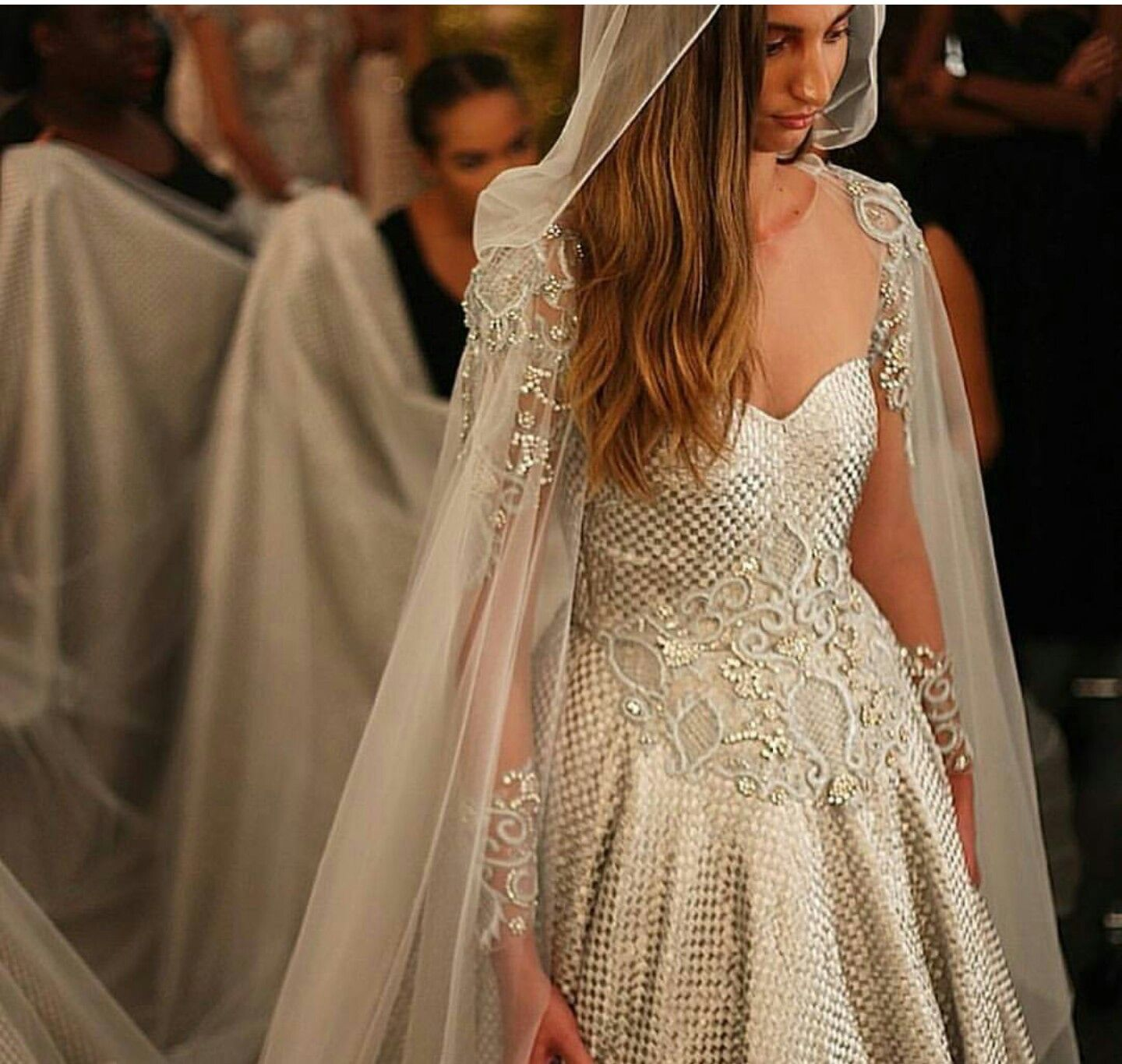 The Gown S A Little Odd But I Like The Cape Veil How Amazing Is This Cape Like A Game Of Thrones Theme Medieval Wedding Dress Wedding Cape Bridal Gowns
