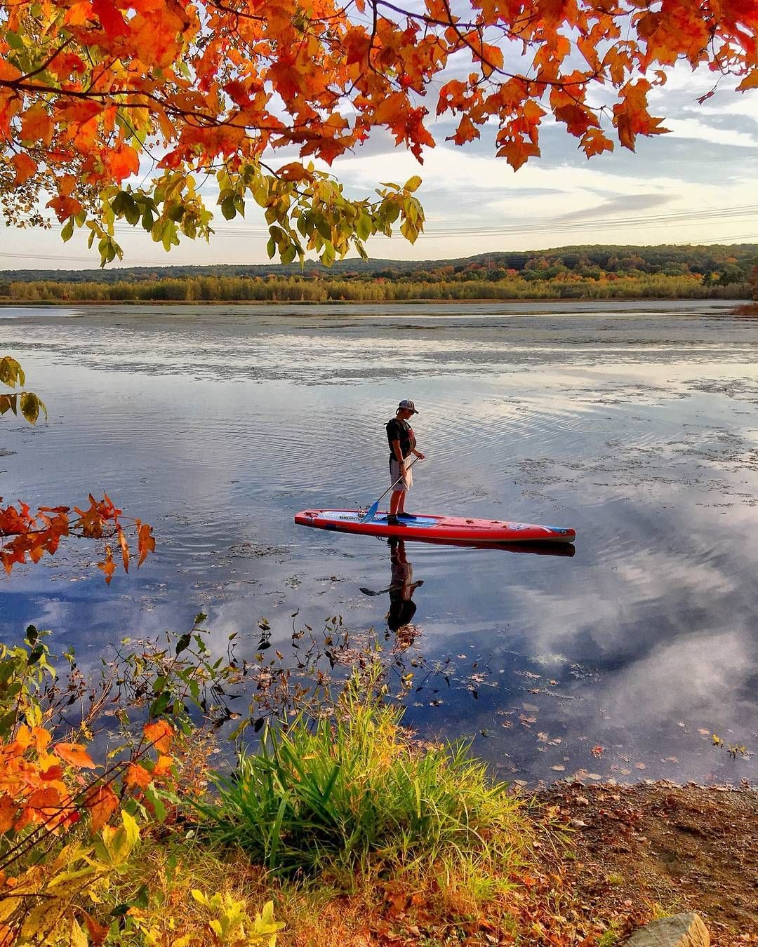 """""""Took my son Chase out for a fall paddle-fishing adventure in Grafton Massachusetts. Leaves are just getting into peak now!"""" -Casi Rynkowski @bicsup"""