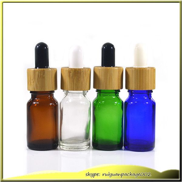 10 Pcs 5ml Clear Glass Dropper Bottle 10ml Blue Green Amber E Liquid Glass Bottle With Bamboo Cap Glass Essential Glass Packaging Bottle Glass Dropper Bottles