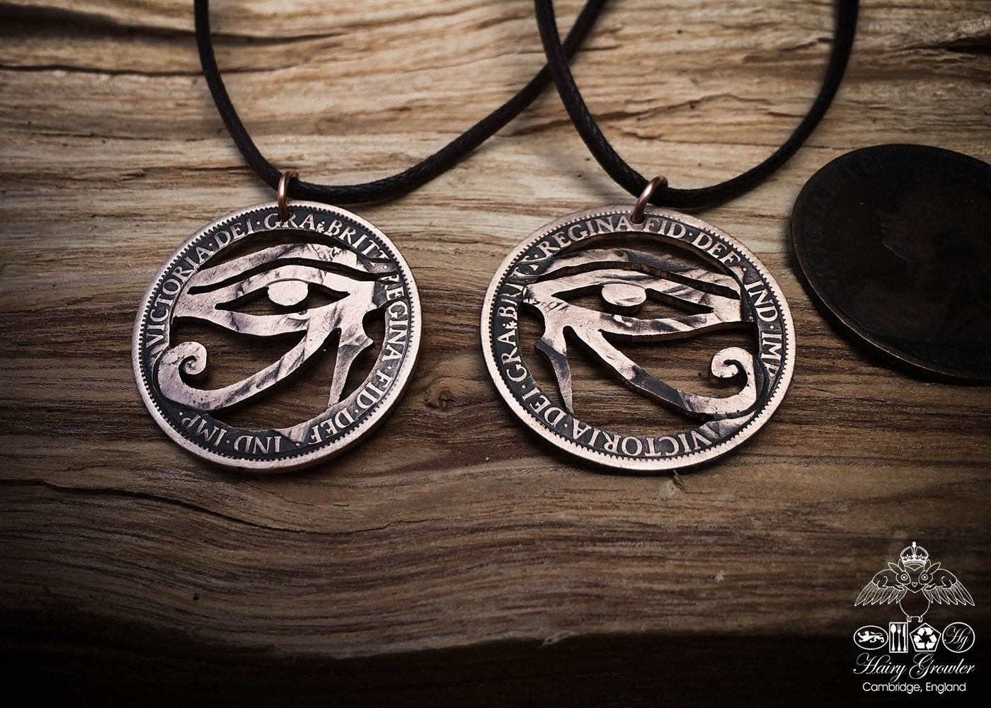 The eye of ra horus coins eye and pendants handcrafted and repurposed coin eye of horus pendant necklace aloadofball Images