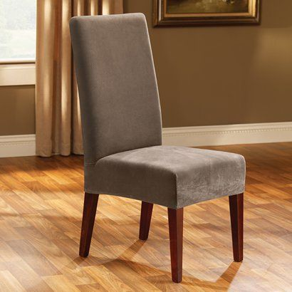 Sure Fit Stretch Pique Short Dining Room Chair Cover Taupe