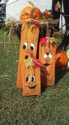 Wood pumpkins, Cute faces!!