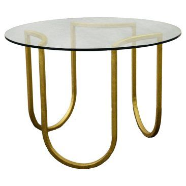 "Check out this item at One Kings Lane! Swivel 30"" Round Side Table, Gold"